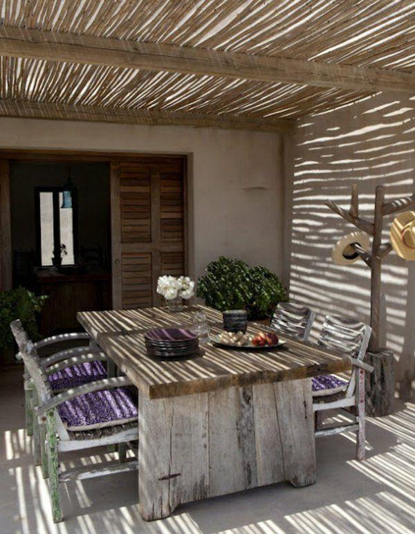 pergola markise bambus Überdachte Terrasse modern holz