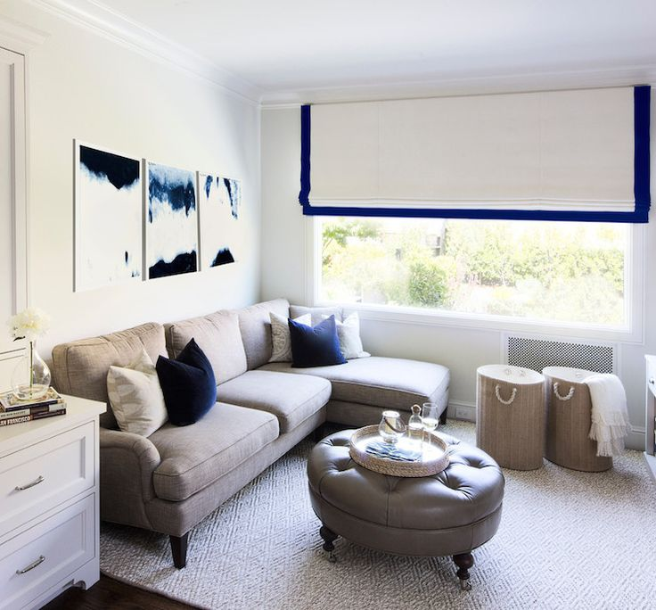 Gray And Blue Living Room Features White And Blue Abstract Art Over Taupe  Linen Sofa With Part 35
