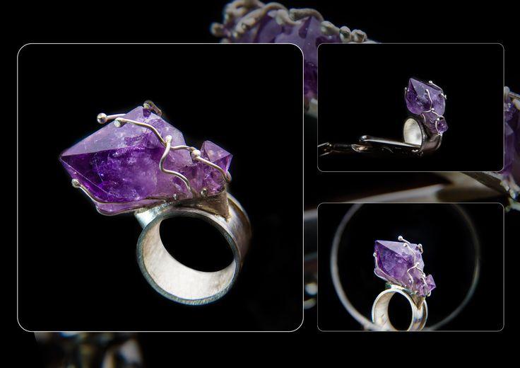 """Imagine"" Collection Eneada SS 2013 #EneadaJewelry #Eneada #Ring #Amethyst #silver #ContemporaryJewelry"