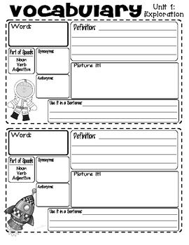 VOCABULARY JOURNAL PAGES (READING STREET - UNIT 1) - TeachersPayTeachers.com