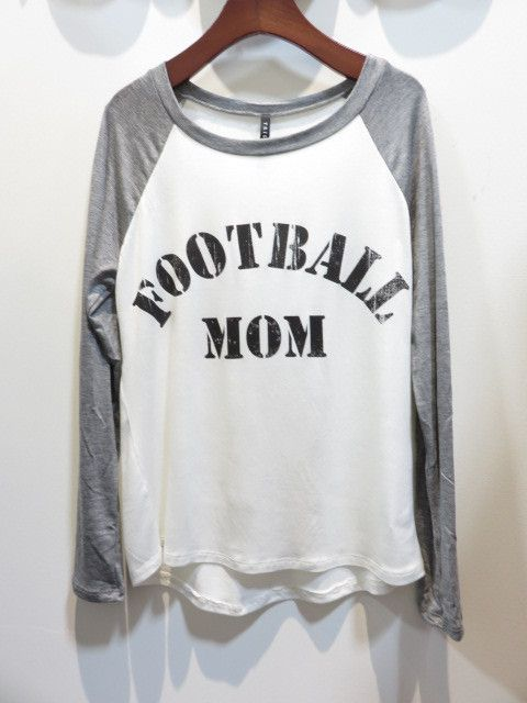 """Rock this raglan jersey tee if you are a """"football mom"""" ! Rayon Blend. Fit is true to size: Small 2/4, Medium 6/8, Large 10/12"""