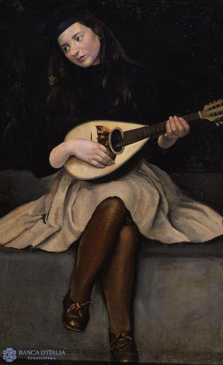 Carlo Socrate - Ritratto di ragazza con mandolino (Girl with a mandolin).1922.