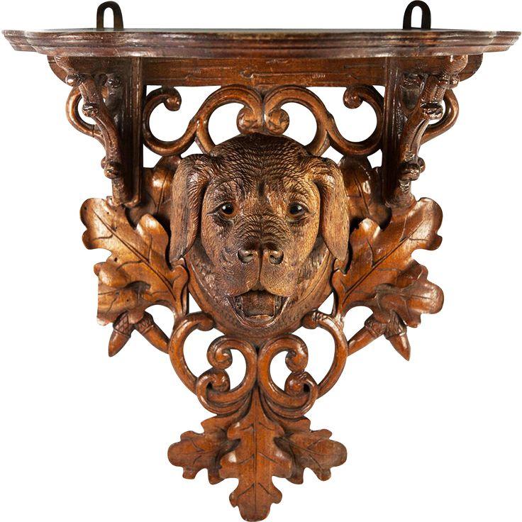 Antique Hand Carved Black Forest Bracket Shelf with Dog, Hound, Oak Leaves, Acorns