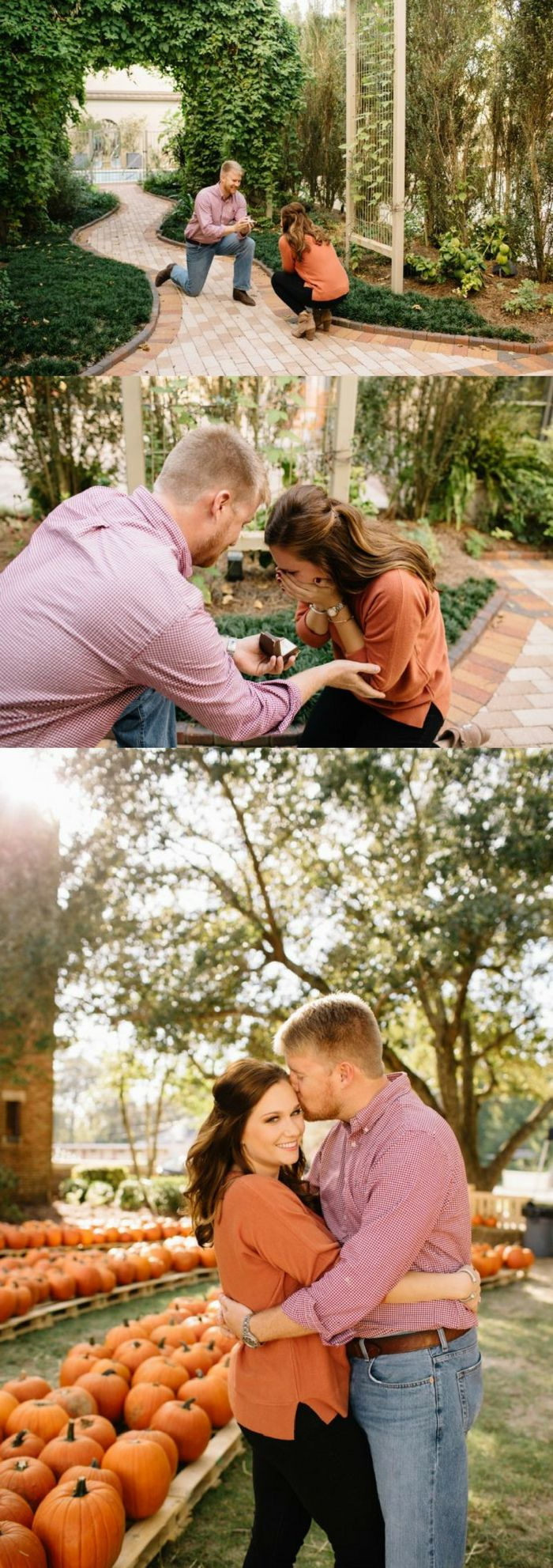 This pumpkin patch proposal is so perfect for fall! She was beyond surprised to see him on one knee.