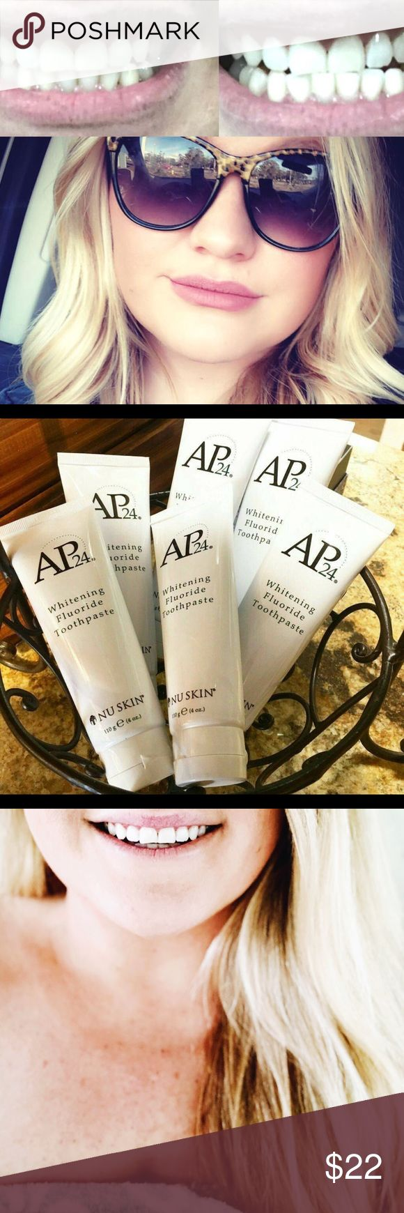 Ap24 whitening toothpaste toothpaste that also serves as a whitening system with ingredients to brighten and restore teeth to whiteness. It has no bleach or peroxide so it is not going to intrinsically whiten your teeth but more so remove daily surface stains from soda, coffee, tobacco, wine, etc. and keep it from coming back. Since it doesn't have the bleach or peroxide it also doesn't cause that sensitivity some people- like myself have got from bleaching.. This also has fluoride in it…