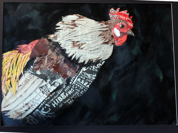 Paper collage Rooster made from vintage poultry magazine.
