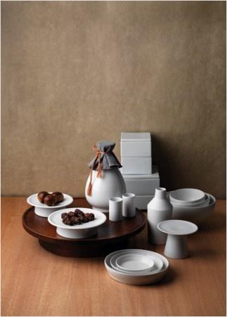 Dessert table organized with Korean white porcelains