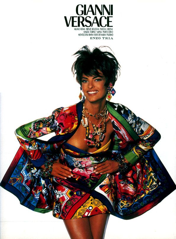 """Versace in the 90s - seriously loving the prints!!! So glad the """"scarf print"""" trend is back! Oh, Linda. Please come back to St. Catherines.  lol  Not."""