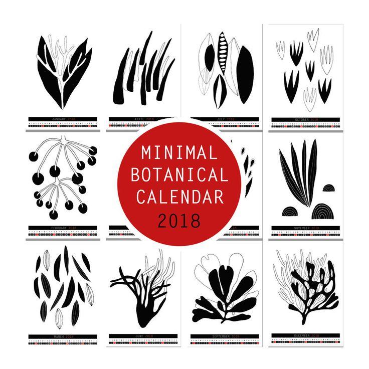 Minimal Botanical Illustration Calendar  2018 A4, instant download, printable PDF - black & white plants  - instant download - 12 pages