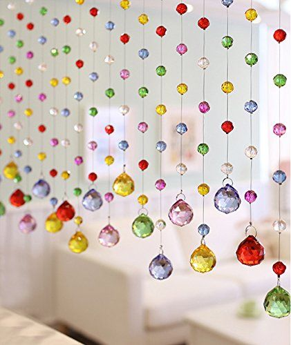Fushing 5Pcs 1ft Multicoloured Crystal Ball Pendant Chandelier Prisms Parts Beads Strands For Home Party Wedding Christmas Decoration 1ft Five Color *** Click image for more details.Note:It is affiliate link to Amazon.