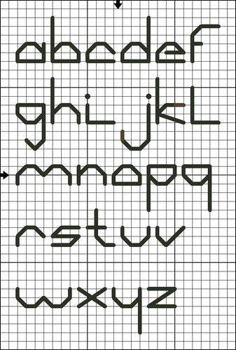 Lowercase Back Stitch Alphabet Chart