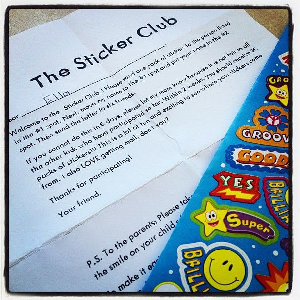 Sticker Club Chain Letter - a new take on the horror chain letter!