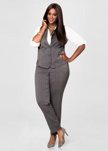 Pinstripe Trouser Suit Pants From The Plus Size Fashion Community At www.VintageAndCurvy.com