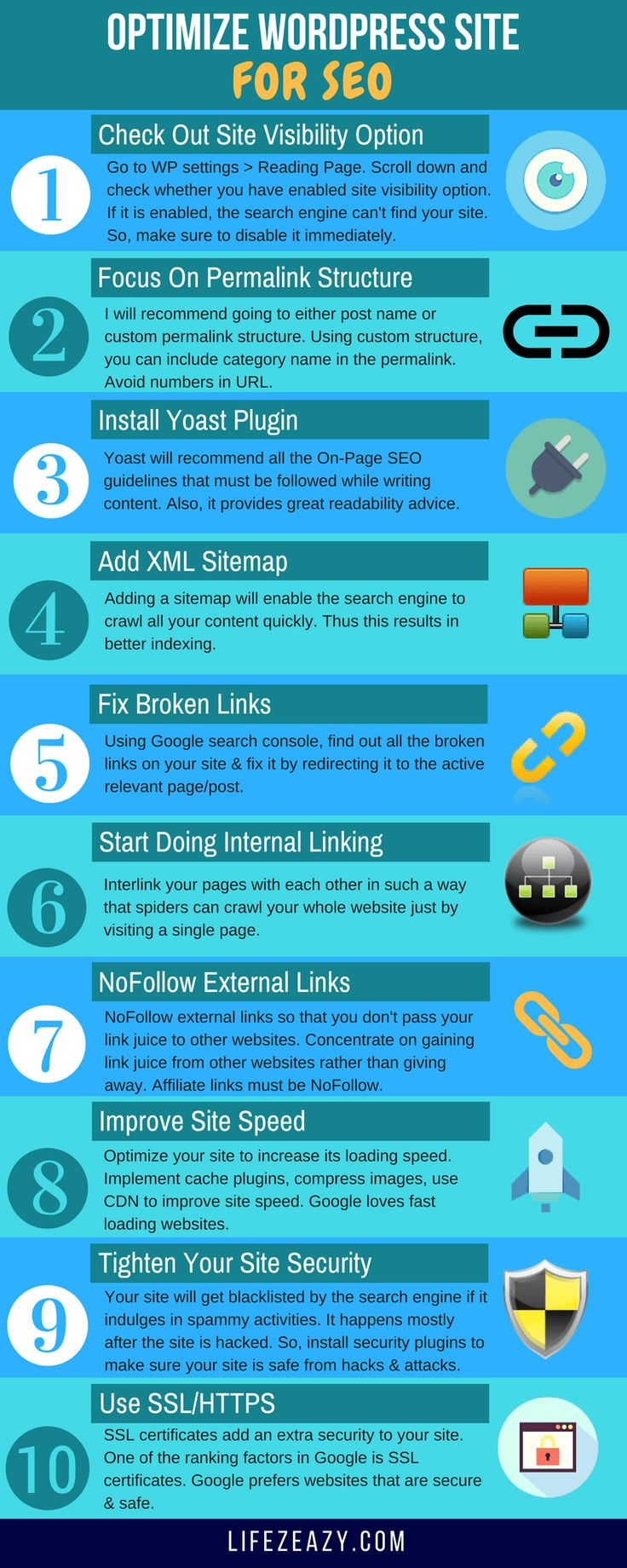If you want to optimize Wordpress site for SEO, then check out this Infographic which states 10 steps to make your site SEO friendly. You can read the whole article to get in-depth information.