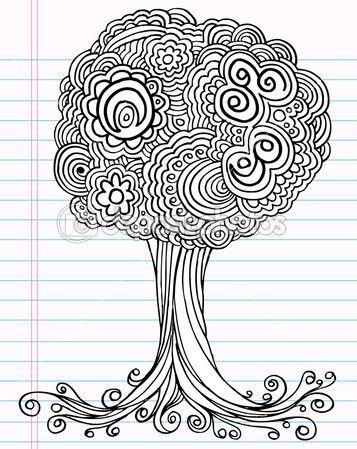 árbol de bosquejo henna doodle cuaderno dibujo arte ilustración vectorial