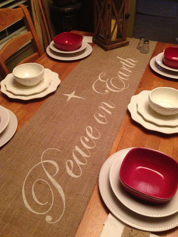 Burlap Table Runner 12 14 & 15 wide with Peace by CreativePlaces, $18.00