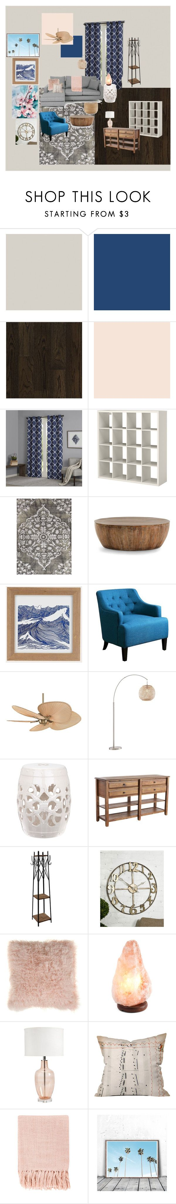 """Navy & Peach Living Room"" by its816am on Polyvore featuring interior, interiors, interior design, home, home decor, interior decorating, SANDERSON, Home Decorators Collection, Madison Park and Jaipur"