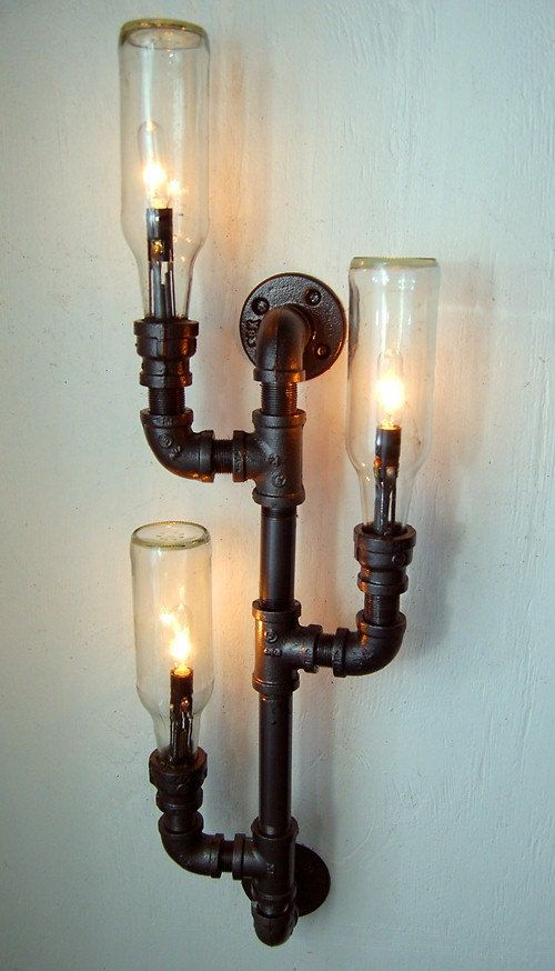 Pipe lamp industrial lighting wall sconce steampunk lamp repurposed bottle lamp 280 00 via etsy
