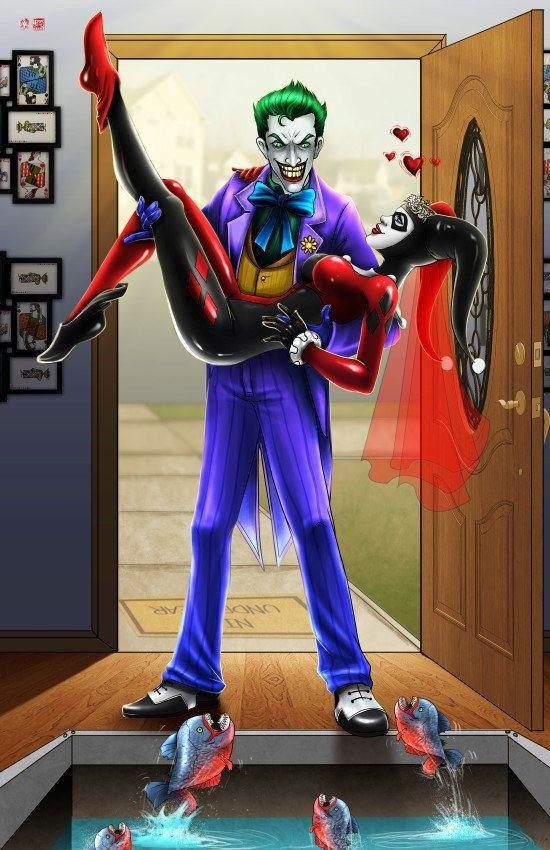 11 x 17  jUsT maRRieD Joker et Harley Quinn par Musetap sur Etsy