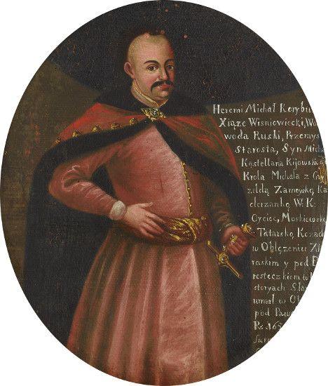 Portret Jeremiego Michała Wiśniowieckiego (1612 – 1651)/ mal XVIIIw; w różowo-malinowym żupanie zapiętym na rząd drobnych guzów, przewiązanym pasem, w czerwonej delii podbitej czarnym futrem i z szeregiem dużych złotych guzów – spiętej bogatą zaponą. Muzeum Pałacu Króla Jana III w Wilanowie