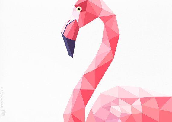 •••• Pink Flamingo •••• •• KWALITEIT Inkjet druk van mijn originele illustratie.    •• JUST ONE Deze geometrische print is er een in een steeds
