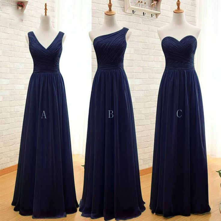 Navy Blue Long Chiffon A Line Pleated Bridesmaid Dress Under $50 Dark Purple Wedding Party Dress 2016 Robe Demoiselle D'honneur-in Bridesmaid Dresses from Weddings & Events on Aliexpress.com | Alibaba Group