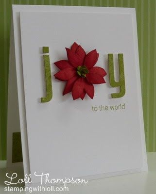 Holiday Card with flower as the letter O.  Great use of thickers, stickers, or die cut alphabet.