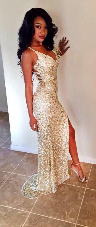 Hot Sexy V-Neck Split-Front Gold Long Prom Dress