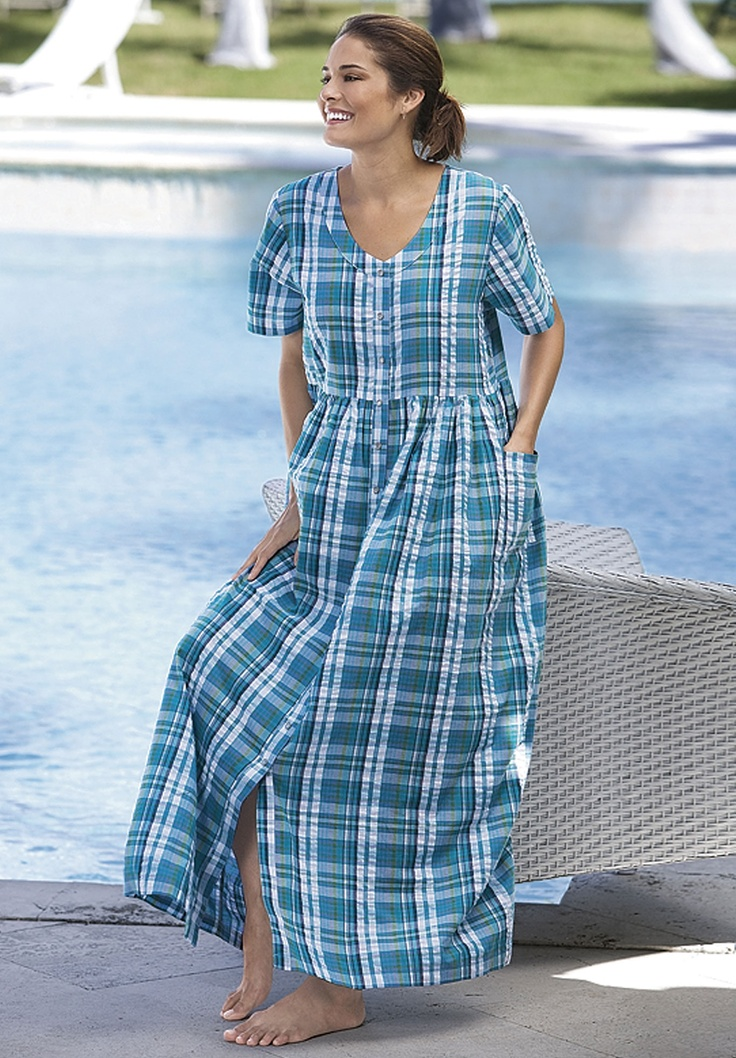 Plus Size Long Seersucker Snap Front Lounger By Only