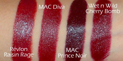 MAC Diva Dupe!  Revlon Super Lustrous Creme Raisin Rage 7.99$ vs MAC Diva 15$  Wet n wild Cherry Bomb 1.99$ is similar but a shade or two darker.   If you like deeper, darker reds definitely check out Revlon Raisin Rage! Great for fall/winter :)