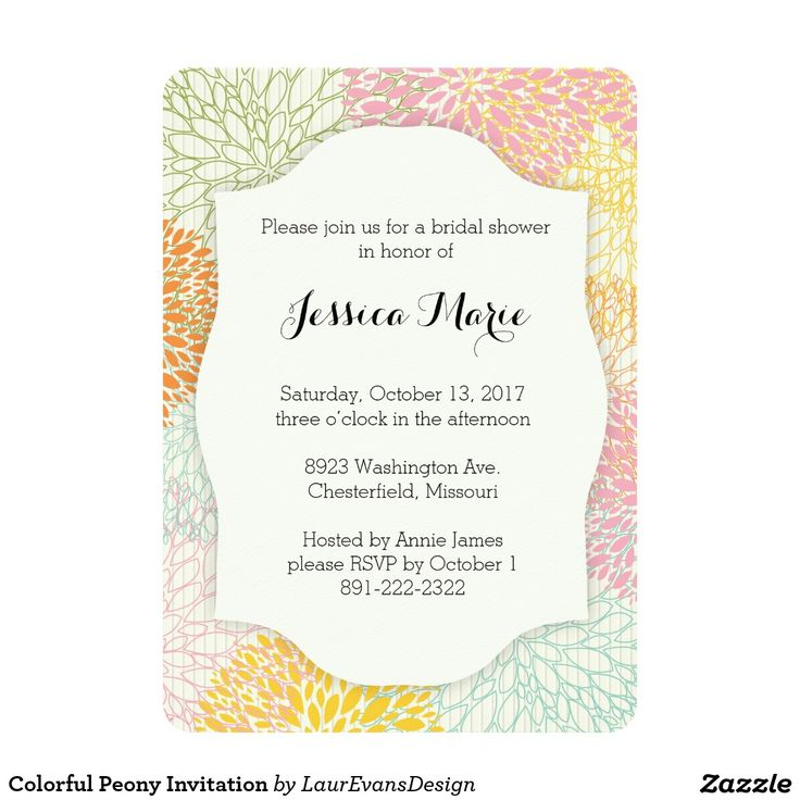 Colorful Peony Invitation