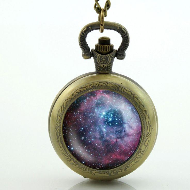 Space Universe Pocket Watch Glass Cabochon Locket Necklace Vintage Pocket Watch Necklace galaxy nebula necklace