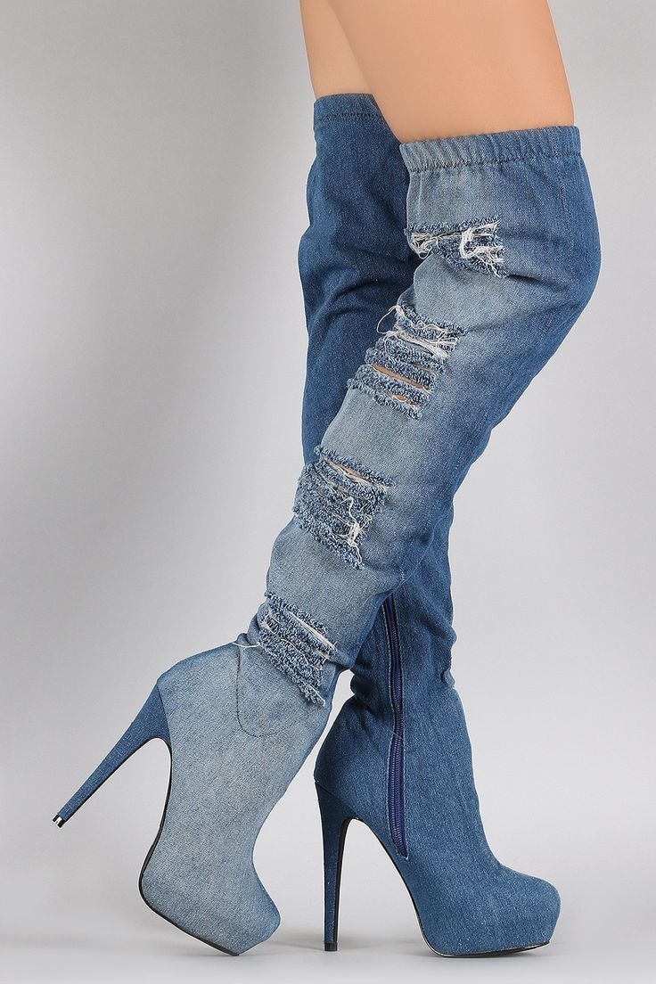 "Description These  denim  upper, elasticized cuffed design, almond toe silhouette, hidden platform, and wrapped stiletto heel. Finished with cushioned insole and partial side zipper closure for easy on/off.Material: Denim (man-made)Sole: Synthetic  Measurement Heel Height: 5"" w/ 1.25"" Platform (approx)Shaft Length: 28.75"" (including heel)Top Opening Circumference: 14"" (approx) 