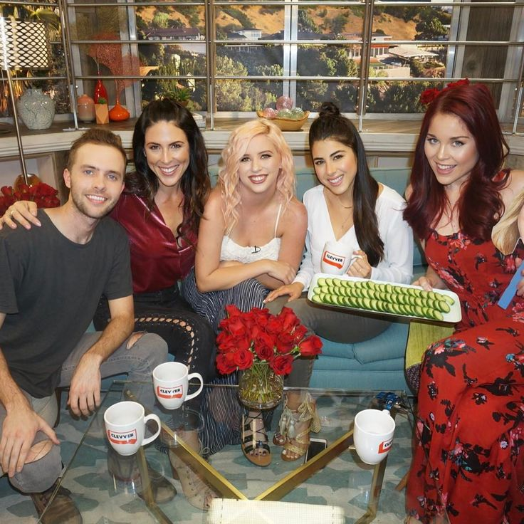 Daniella Monet came to Clevver for a special episode of #BachPlease also let's talk about why @heyerinrobinson is holding a plate of cucumbers.