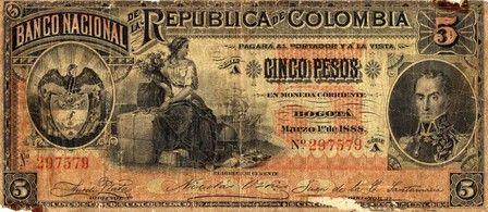 BILLETE DE 5 PESOS BOGOTÁ AÑO 1888 BANCO NACIONAL DE LA REPÚBLICA DE COLOMBIA