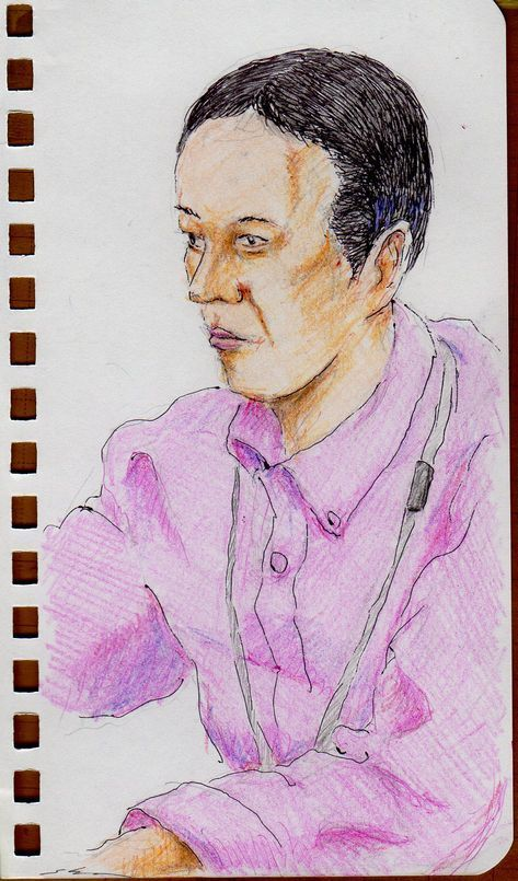 This is a sketch of the man who put on the pink shirt I drew in the office in a company.