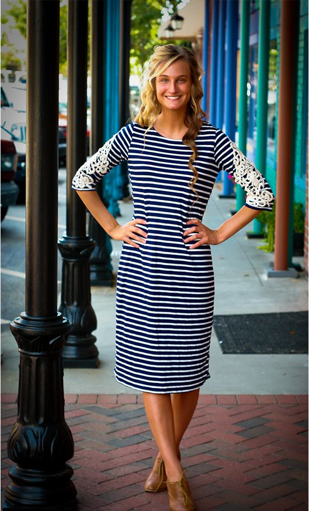 Lucille: womens navy striped 3/4 sleeve dress with crochet detailed sleeves available in S-L