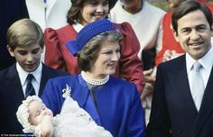 King Constantine II and Queen Anne-Marie Of Greece at the christening of their daughter, Princess Theodora, in London, 1983.