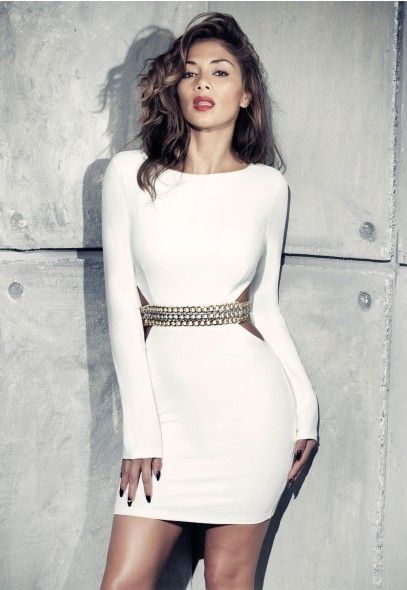 Nicole x missguided white dress draing