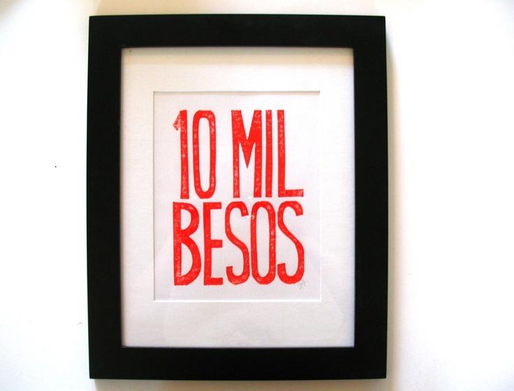 PRINT - 10 mil besos RED ORANGE block print letterpress typography poster 8x10. $20.00, via Etsy.