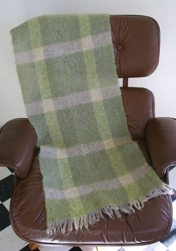 Vintage mohair scarf in light sage green and cream plaid