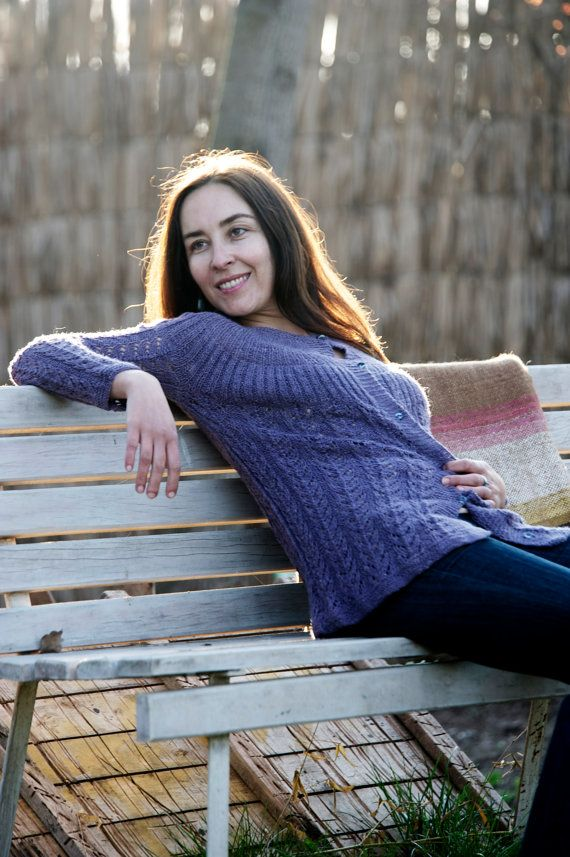 Handknitted womens sweater with fine organic alpaca wool threads and dye by hand