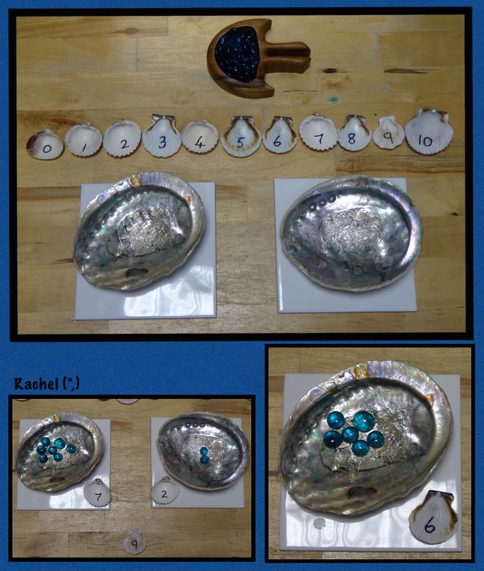 """Counting with shells and glass pebbles from Rachel ("""",)"""