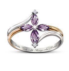 With God All Things Are Possible Engraved Cross Ring - Amethysts and diamonds join together to form a cross in this beautifully inspiring ring.