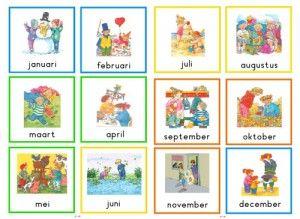 Maandkaarten Dagmar Stam - Jessi.nl (kaartjes met de maanden en een gekleurde rand die het seizoen aangeeft.)