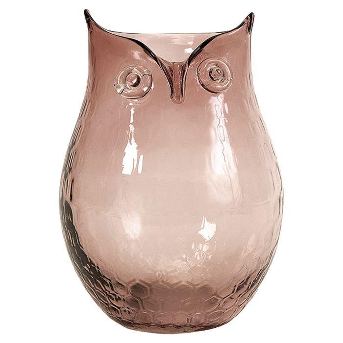 Owl-shaped glass vase