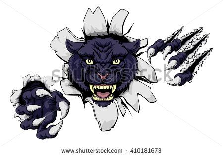 A black panther cartoon sports mascot ripping through a wall with his claws
