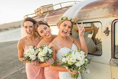 Fun Bride and Bridesmaids Shoot Wollongong Beach Kombi  kombi celebrations