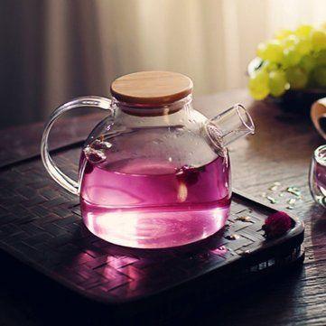 High Capacity Glass Kettle Handcraft Water Jug Teapot Filter Bamboo Lid Heat Resistant  Strainer