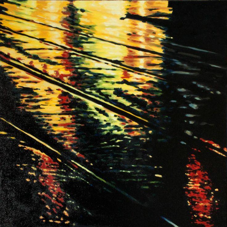 """Parallels VIII - oil on canvas, 24 x 24"""" (60 x 60 cm) - rainy streets at night with streetcar tracks"""